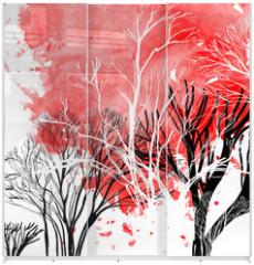 Panel szklany do szafy przesuwnej - Abstract silhouette of trees
