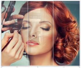 Panel szklany do szafy przesuwnej - Model with curled red hair