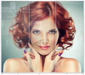 Panel szklany do szafy przesuwnej - Beautiful model red with curly hair