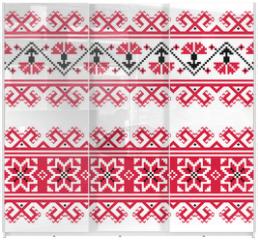 Panel szklany do szafy przesuwnej - Ukrainian, Slavic red and grey traditional seamless folk pattern