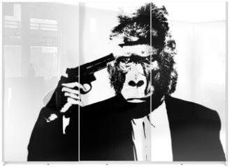 Panel szklany do szafy przesuwnej - Suicide man with gorilla head