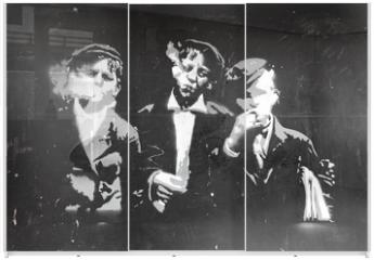 Panel szklany do szafy przesuwnej - graffiti chicos fumando 0725-f14