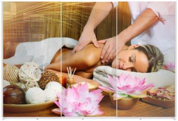 Panel szklany do szafy przesuwnej - Beautiful woman having massage.