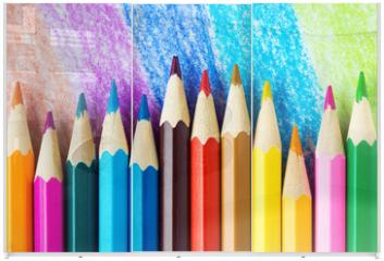 Panel szklany do szafy przesuwnej - Colored pencils background