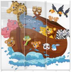 Panel szklany do szafy przesuwnej - Noah's Ark cartoon
