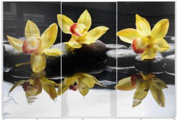 Panel szklany do szafy przesuwnej - still life with three orchid on pebble