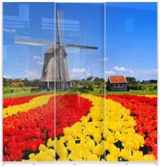 Panel szklany do szafy przesuwnej - Vibrant tulips with windmill, Netherlands