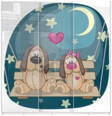 Panel szklany do szafy przesuwnej - Lovers Dogs