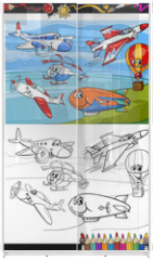 Panel szklany do szafy przesuwnej - planes and aircraft cartoon coloring book