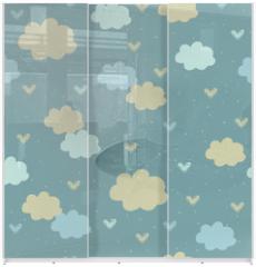 Panel szklany do szafy przesuwnej - Seamless pattern with clouds