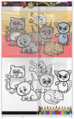 Panel szklany do szafy przesuwnej - kittens group cartoon coloring book