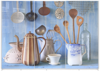 Panel szklany do szafy przesuwnej - various vintage kitchen utensils, culinary, cooking  concept