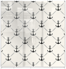 Panel szklany do szafy przesuwnej - Seamless vector pattern of anchor shape and line