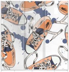 Panel szklany do szafy przesuwnej - Gumshoes seamless pattern