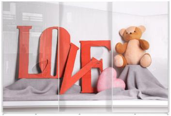 Panel szklany do szafy przesuwnej - Decorative letters forming word LOVE with teddy bear