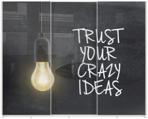 Panel szklany do szafy przesuwnej - Light bulb lamp on blackboard background with idea quote