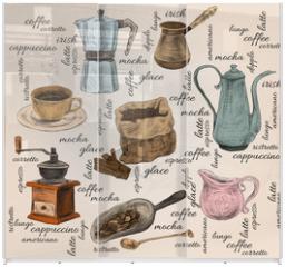 Panel szklany do szafy przesuwnej - Vintage coffee handdrawn set