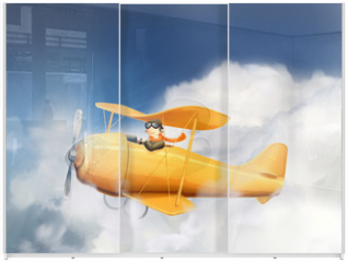 Panel szklany do szafy przesuwnej - Aircraft in the clouds, vector illustration