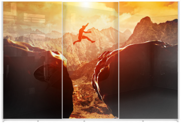 Panel szklany do szafy przesuwnej - Man jumping over precipice between two mountains at sunset