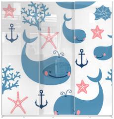 Panel szklany do szafy przesuwnej - Seamless pattern with cute whales.