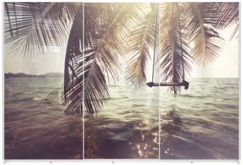 Panel szklany do szafy przesuwnej - Tropical beach