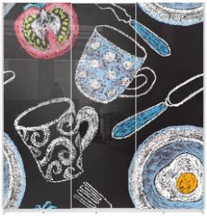 Panel szklany do szafy przesuwnej - Hand drawn restaurant menu elements.
