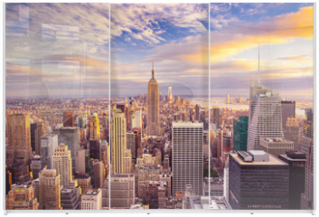 Panel szklany do szafy przesuwnej - Sunset view of New York City looking over midtown Manhattan
