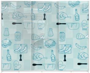 Panel szklany do szafy przesuwnej - Barbecue Party background