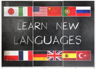 Panel szklany do szafy przesuwnej - Learn new languages