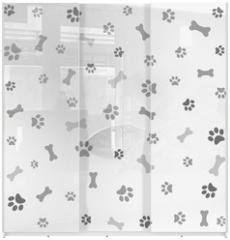 Panel szklany do szafy przesuwnej - Background with dog paw print and bone