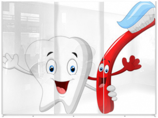Panel szklany do szafy przesuwnej - Dental Tooth and Toothbrush cartoon character