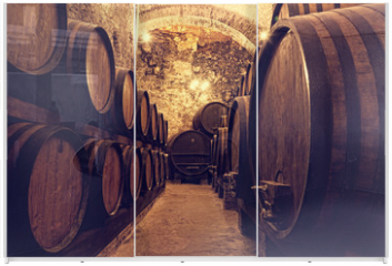 Panel szklany do szafy przesuwnej -  Wooden barrels with wine in a wine vault, Italy