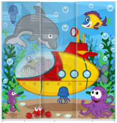 Panel szklany do szafy przesuwnej - animals on submarine - vector  illustration, eps