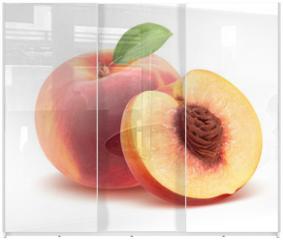 Panel szklany do szafy przesuwnej - Beautiful whole peach and split isolated on white