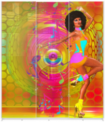 Panel szklany do szafy przesuwnej - Colorful Retro Disco Dancer
