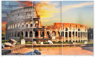 Panel szklany do szafy przesuwnej - great Colosseum on sunset, Rome