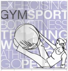 Panel szklany do szafy przesuwnej - Pilates illustration of woman stability ball gym fitness yoga