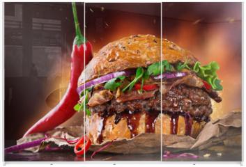 Panel szklany do szafy przesuwnej - Delicious hamburger