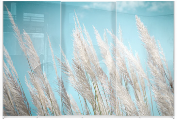 Panel szklany do szafy przesuwnej - softness white Feather Grass with retro sky blue