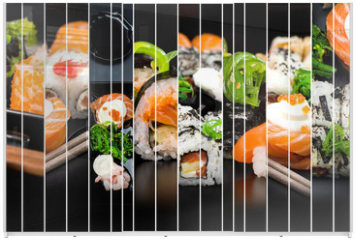 Panel szklany do szafy przesuwnej - collage of photos of sushi
