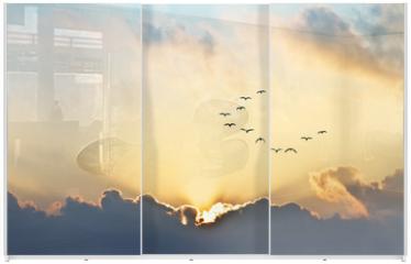 Panel szklany do szafy przesuwnej - el sol se asoma entre las nubes