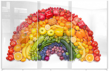 Panel szklany do szafy przesuwnej - fruit and vegetable rainbow