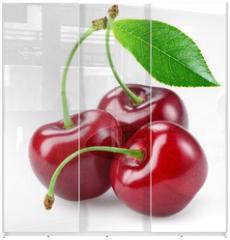 Panel szklany do szafy przesuwnej - Cherry with leaf isolated on white.