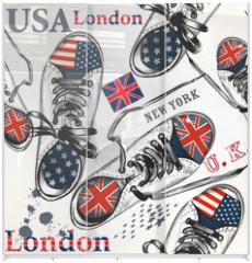 Panel szklany do szafy przesuwnej - Fashion seamless pattern with sports boots decorated by British