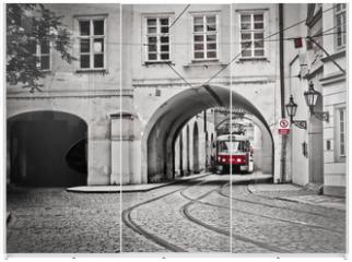 Panel szklany do szafy przesuwnej - Red tram