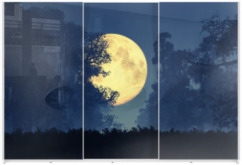 Panel szklany do szafy przesuwnej - Mysterious Magical Fantasy Fairy Tale Forest at Night 3D art