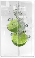 Panel szklany do szafy przesuwnej - Lime with water