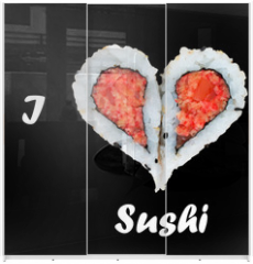 Panel szklany do szafy przesuwnej - I love sushi concept with two pieces of sushi forming heart shap