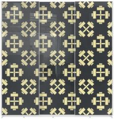 Panel szklany do szafy przesuwnej - Retro vector gym seamless pattern