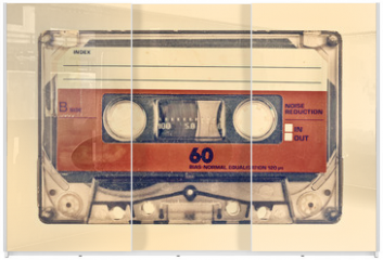 Panel szklany do szafy przesuwnej - Retro styled image of an old compact cassette